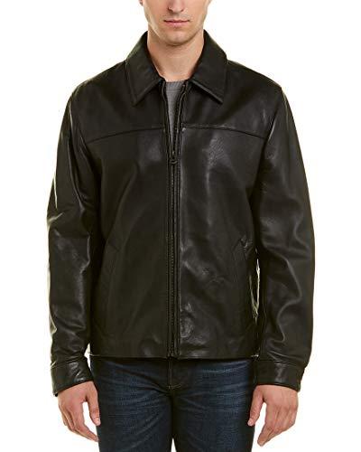 Cole Haan Signature Men's Smooth Lamb Skin Shirt Collar Leather Jacket, Black, X-Large