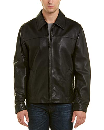 Cole Haan Signature Men's Smooth Lamb Skin Shirt Collar Leather Jacket, Black, Large