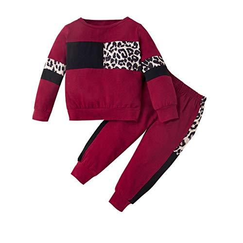 Zoerea Completo Neonato Bambina Moda Manica Lunga Felpa Leopardati + Pantaloni Primavera Autunno Abiti 2 Pezzi Set