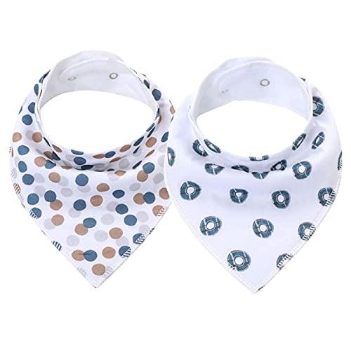 DNAEGH Baberos,2 Baberos de Baberos con pañuelo para bebé, Accesorios de algodón para recién Nacidos, para la dentición y la alimentación de bebés.K20034