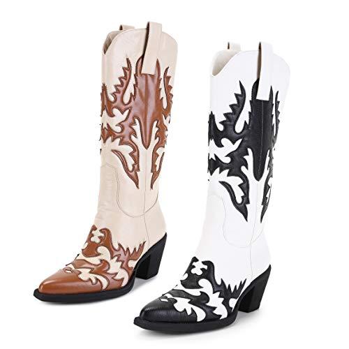 ANN CREEK Damen 'Claremont' Texture Patch Stiefel, Weiá (Karamell/Elfenbein), 40 EU