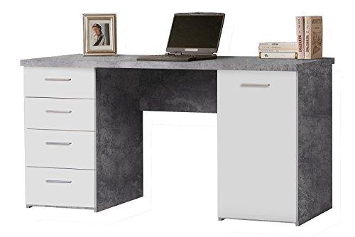 Schreibtisch Computertisch Arbeitstisch | Weiß | Betonoptik