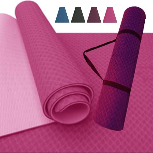 SABAX- Extrem rutschfest, körperschonend, schadstofffrei, recycelbar; TPE Matte pink; 183x61x0,6cm zweilagig, Tragegurt; Yogamatte, Fitnessmatte, Gymnastikmatte, Sportmatte, Pilatesmatte, Outdoormatte