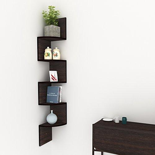 Yangiug Zigzag Corner Shelf 5 Tier Modern Wall Mounted Storage Shelf Corner Floating Shelves Home Decor Display Shelf for Bedroom, Bathroom,Kitchen, Office, Brown