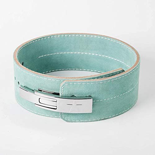 DYFAR Leather Weight Lifting Belt, Back Gym Strap Support Fitness Bodybuilding Lever Buckle Powerlifting Belt Cow Hide Exercise, Green, S
