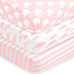 BaeBae Goods Fitted Baby Crib Sheets for Girls, 3 Pack, Soft and Breathable Jersey Cotton, Pink and White, Cute Girly Nursery Mattress Bedding, Universal Fit