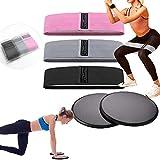Bandas Elasticas Musculacion y Discos Doble Cara Deslizantes,3 Bandas Elasticas Gluteos y 2 Core Sliders,para Piernas, Brazos, Yoga, Pilates,Ejercicios de Cuerpo para alfombras y Pisos Duros
