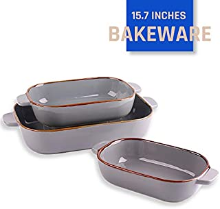 Kvv Rectangular Bakeware Set of 3 Piece,Lasagna Pans,Ceramic Baking Pan,Baking Dishes for Cooking, Kitchen, Cake Dinner, Banquet and Daily Use, 13 x 9 Inches (grey)
