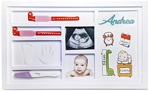 cornice impronte neonato | impronte neonato | kit impronte neonato mani e piedi | regali neonati | idee regalo nascita e battesimo | baby shower | culla neonato | neonata femmina | 48x29cm
