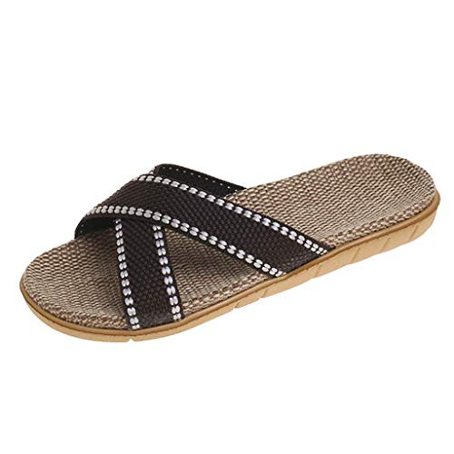 Sylar Chanclas de baño para Mujer,Zapatos de Playa y Piscina Unisex Zapatillas de casa Correa Cruzada de Verano Lino Fondo Plano Zapatos Bohemias