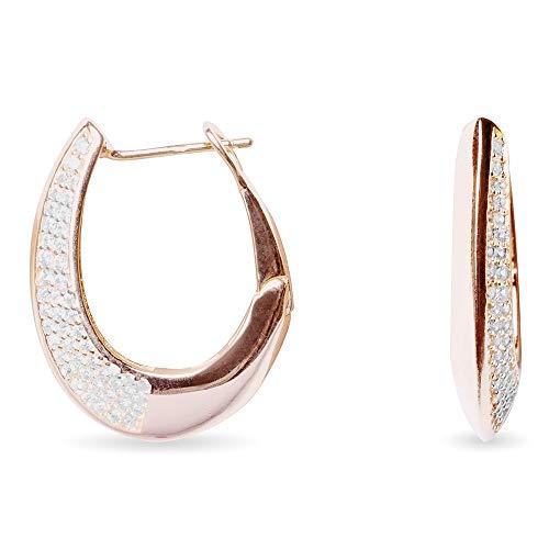 Pendientes Luxenter aro oval plata Ley 925m baño oro rosa colección Zhul circonitas