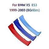 Froggen Adesivo griglia anteriore colore M, 3 Colori clip per griglia a rene, Rene Griglia Radiatore Fibbia decorazioni Per BMW X5 E53 1999-2003 (8Rod)