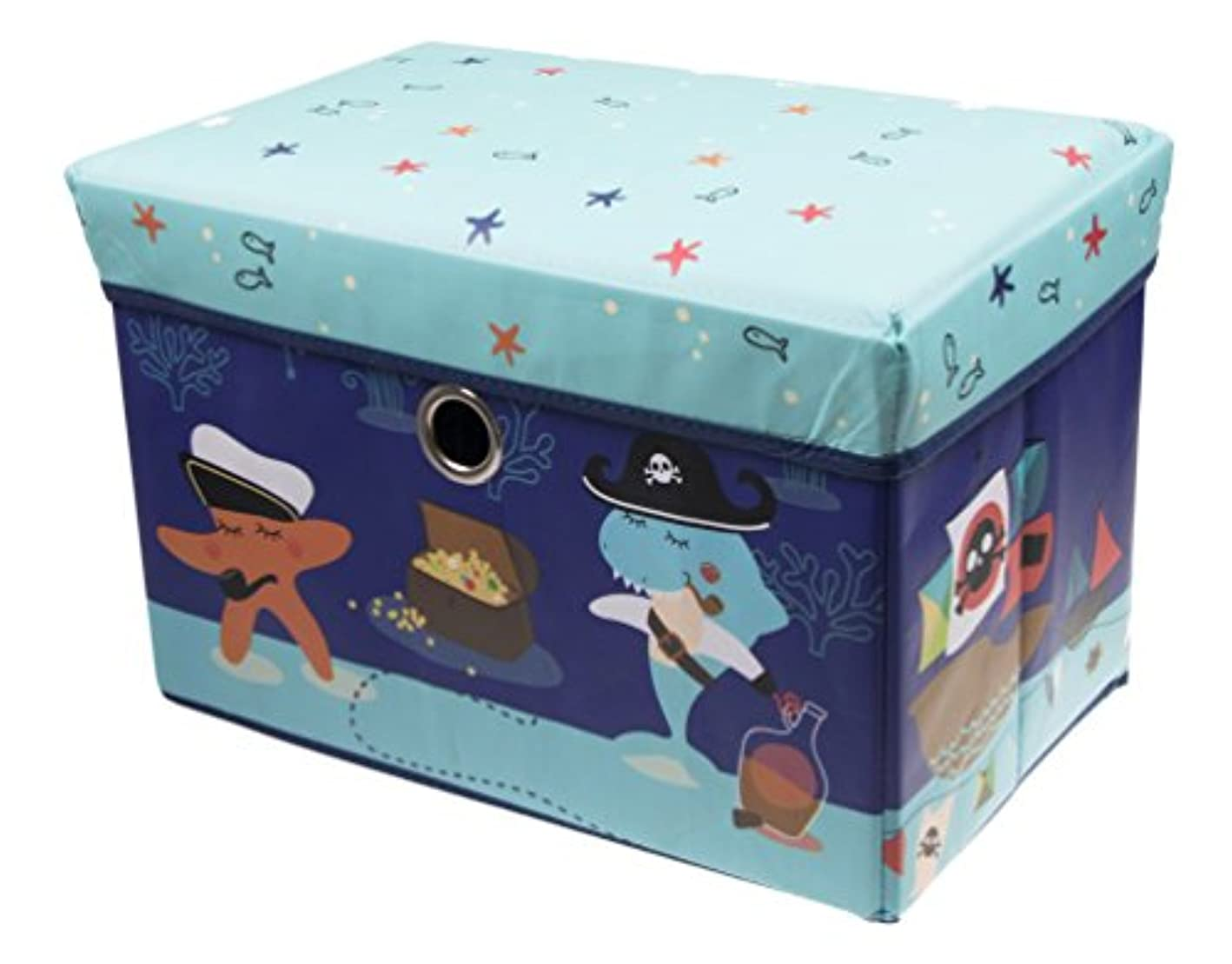 Clever Creations Underwater Sea Adventure Storage Organizer Storage Ottoman for Any Room | Perfect Size Chest for Books, Shoes, Games & More