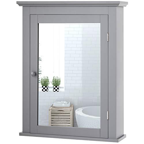 Tangkula Bathroom Cabinet Mirrored Wall-Mounted Storage Medicine Cabinet Cabinet with Single Door Adjustable Shelf in 5 Positions Multipurpose Cabinet for Bathroom Vestibule Bedroom Gray