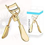 Stainless Steel Eyelash Curler with Silicone Refill Pads Pinch Pain-Free Suitable for Any Eye Shapes and Sizes (Gold)