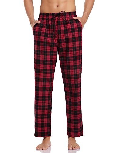Aibrou Herren Schlafanzughose Lang Pyjamahose Kariert Freizeithose aus Baumwolle Nachtwäsche Hose mit Elastischer Taille Loungewear für Herren, Farbe: Rot, Gr.M