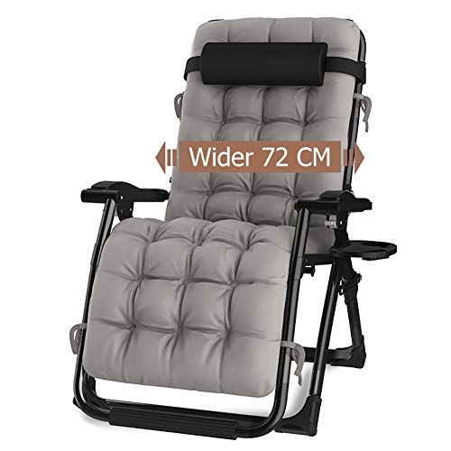 Tumbonas Asiento Extra Ancho Silla Zero Gravity con Cojín Sillón Plegable para Four Seasons/Patio/Camping, Sillas Reclinables Ajustables (Color : Gray)
