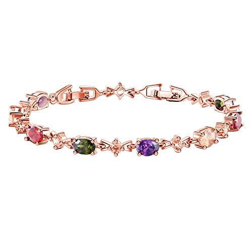 Bracelets for Womens Elegant Multicolor Zircon Crystal Bracelet Adjustable Bangle Personalised Romantic Valentine's Day Present Birthday Christmas Graduation Gifts(One Size,White)