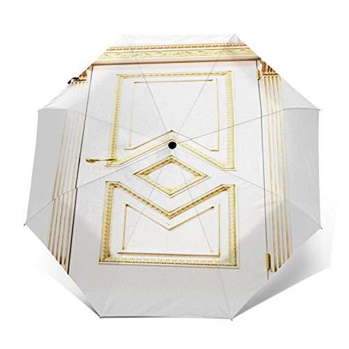 Paraguas Plegable Automático Impermeable Puerta de Entrada de Madera Puerta de Madera, Paraguas De Viaje Compacto A Prueba De Viento, Folding Umbrella, Dosel Reforzado, Mango Ergonómico
