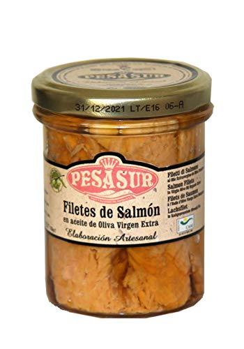 Lomos de Salmón Salvaje PESASUR Aceite de Oliva Virgen Extra Ecológico Tarro Vidrio [Pack 2 ud x 195 g]