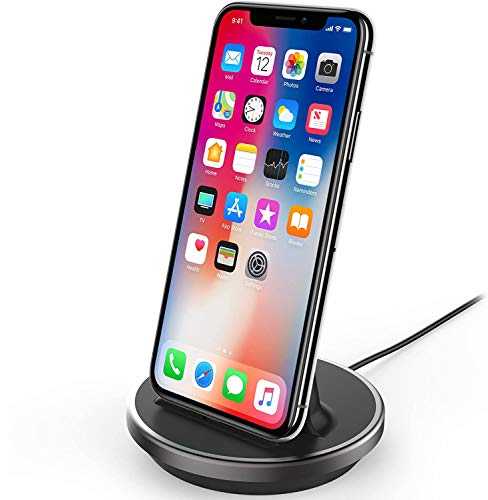 NXET iPhone/iPad/iPod Desktop Charging Dock, [Case Compatible] 8Pin Charger Cradle & Data Sync Cable Stand Charge Holder for iPhone 12 SE (2020) 11 Pro Max XS Max XR X 8 7 6S 6 Plus 5S 5C 5 / iPad Mini Air Pro / AirPods Pro
