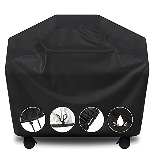 Grill Cover, BBQ Cover 58 inch,Waterproof BBQ Grill Cover,UV Resistant Gas Grill Cover,Durable and Convenient,Rip Resistant,Black Barbecue Grill Covers,Fits Grills of Weber,Brinkmann,Char-Broil etc