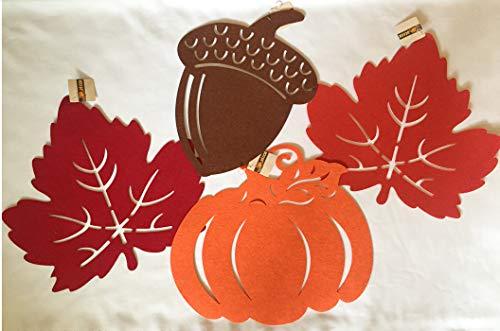 Greenbrier Fall Felt Place Mats Acorn, Pumpkin, Leaves Set of 4