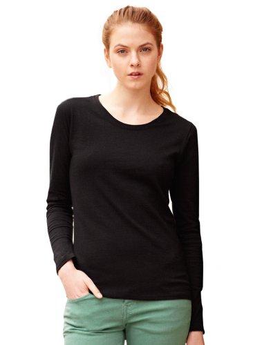 Fruit of the Loom Langärmliges T-Shirt, erhältlich Größen Gr. XXL, schwarz - schwarz