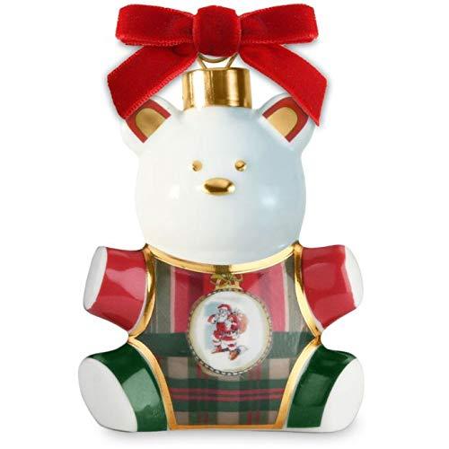 Baci Milano Xmas Tartan Orsetto in Porcellana XTEDDY.TAR01 Natale Decorazione Albero Sfera