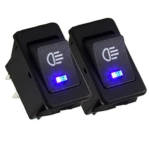 Qiorange Auto 35A 12V KFZ schalter wasserdicht beleuchtet LED Blau 4 Polig Wechsel Switch Kippenschalter Wippschalter Ein-/Ausschalter für Nebelscheinwerfer Scheinwerfer