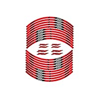 Wfrspavey オートバイのタイヤの反射ステッカーの内側の車輪の縞模様の装飾デカールヤマハR1と互換性 hnyxs (Color : Red)