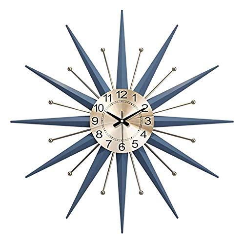 ZCZZ Reloj Decorativo Grande, Reloj Silencioso, Reloj De Pared De Metal Medieval, Hogar, Cocina, Sala De Estar, Oficina, Decoración Azul Starburst