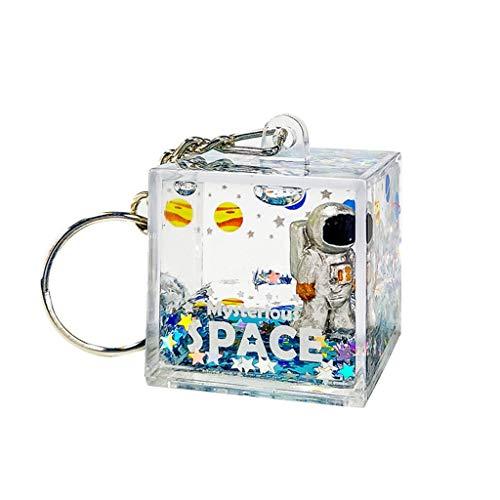 QIANGU Llavero, Mysterious Space Quicksand Llavero Cuadrado Astronaut Bag Charm Keyring Jewelry