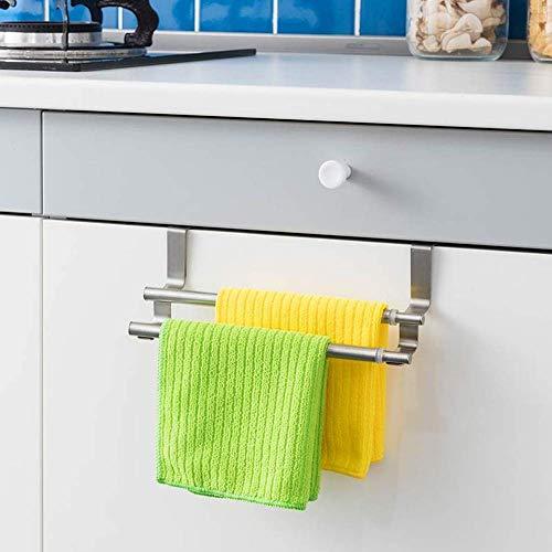Over Kitchen Cabinet Door Towel Rail Hanger Holder Storage, Towel Bar Bathroom Towel Shelf Stainless Steel Double Pole Bath Towel Rack Towel Hanging Rod No Drilling(Sliver)