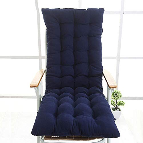 FCXBQ Cojín antideslizante para silla de salón, cojín de espuma viscoelástica grueso con lazos transpirable suave para balcón, ventana de bahía, color azul, 130 x 48 cm