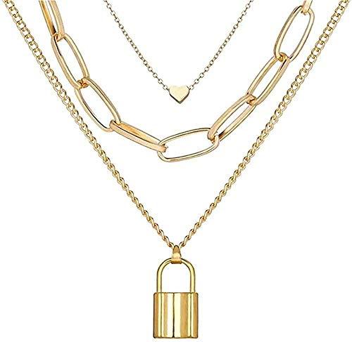Yiffshunl Collar con candado, Colgantes, Collares para Mujer, Llave de Oro, corazón, Collar de múltiples Capas, joyería Steampunk para Parejas