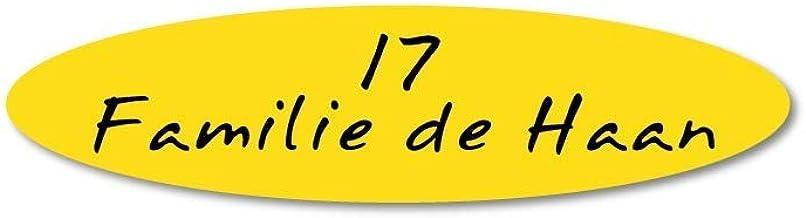 Naamplaatje geel ovaal t.b.v. brievenbus, 8x2 cm
