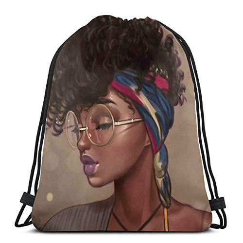 BXBX Plegable Drawstring Backpack Bag Sport Gym Sackpack Cinch Bag for School Yoga Gym Swimming Travel Unisex - African American Girl