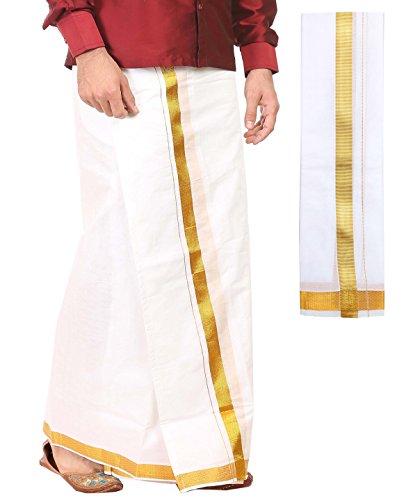 kaatru Free Size Premium Dhoti (Dhoti Length 3.7 Meters) and Angavastram - 1 Inch Golden Border