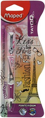Maped CB22002500 - Pluma estilográfica, diseño de tatuaje y rosas (trazo mediano), color Blanco / rosa