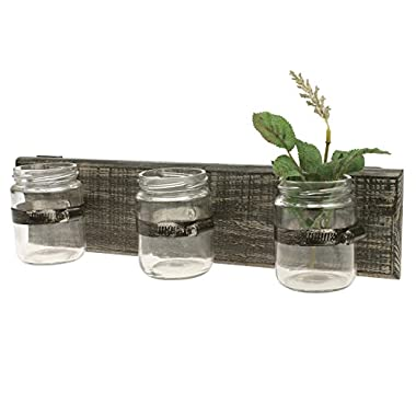 Stonebriar Rustic Industrial Wooden Hanging Wall Decor with 3 Glass Jar Containers, Unique Multifunctional Decoration for Living Room, Bedroom, Bathroom, Office, Kids Room, or Patio