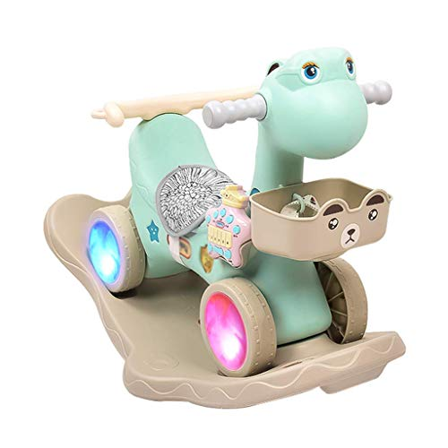Taoke Schaukelpferd for Kinder Baby-Spielzeug aus Plastik Schaukelstuhl Geburtstags-Geschenk-Roller-73 * 50cm (Farbe: hellgrün) 8bayfa (Color : Light Green)
