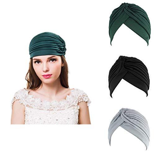 Ever Fairy Gorro elástico de poliéster turbante para mujer, con diseño de turbante 🔥