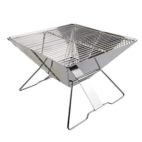 Barbecue au Charbon de Bois Pliable Portable en Acier Inoxydable avec Sac de Transport pour Camping en Plein air, Outil de Barbecue