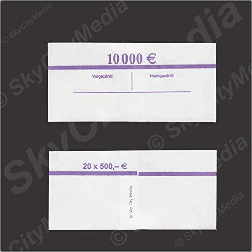 Banderolen für Euro Geldscheine je 50x (500 € Banderole) Geldbanderole Papier für Geldbündel Fassungsvermögen je 20 Scheine