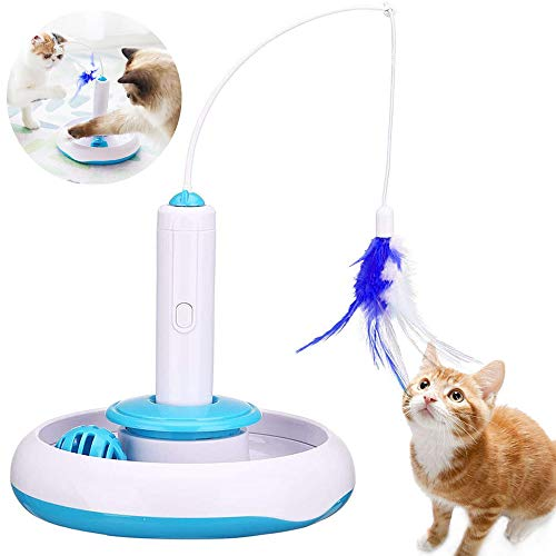TaimeiMao Spielzeug Katze Intelligenzspielzeug Spiels Federspielzeug,360 ° drehbar,Interaktives Katzenspielzeug für den Innenbereich,Katzen Federspielzeug,Federspielzeug und Glockenball