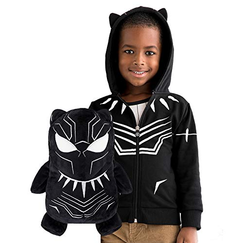 Cubcoats Marvel's Black Panther - 2-in-1 Transforming Classic Zip-Up & Soft Plushie - Black with White Accents