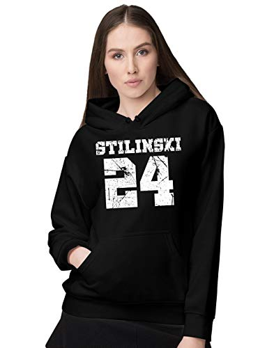 BLAK TEE Donna Vintage Teen Wolf Stilinski 24 Beacon Hills Lacrosse Logo Felpa con Cappuccio S