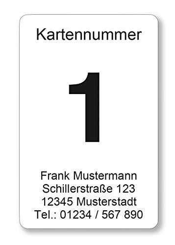 100 Karten mit fortlaufender Nummer (1-100), 55 x 85 mm, laminiert
