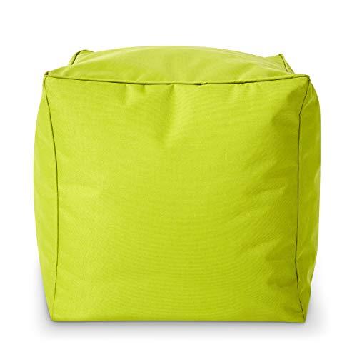 Green Bean  Square Dice sgabello a sacco - 40x40x40 cm - per interni ed esterni - idrorepellente, lavabile - poggiapiedi, cuscino di seduta - per bambini e adulti - Verde chiaro